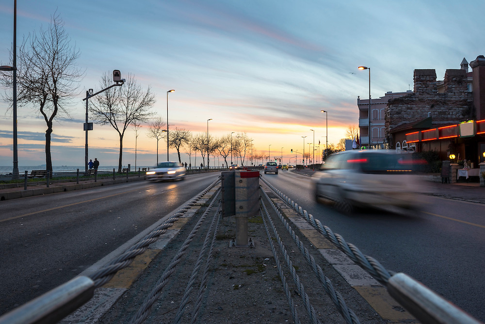 View of traffic on Kennedy Avenue at sunset in Istanbul, Turkey