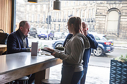 Pictured: <br /> <br /> The beast from the east was tackled in different ways in Edinburgh today with some taking refuge in the West Room while others struggled against the snow.<br /> Ger Harley | EEm 28 February 2018