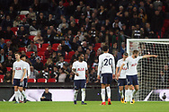 Tottenham players argue amongst themselves after conceding a third goal. EFL Carabao Cup, 4th round match, Tottenham Hotspur v West Ham United at Wembley Stadium in London on Wdnesday 25th October 2017.<br /> pic by Steffan Bowen, Andrew Orchard sports photography.