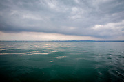 The English Channel looking back at Hythe Bay, on a cloudy day form Folkestone, Kent, England, United Kingdom. (photo by Andrew Aitchison / In pictures via Getty Images)