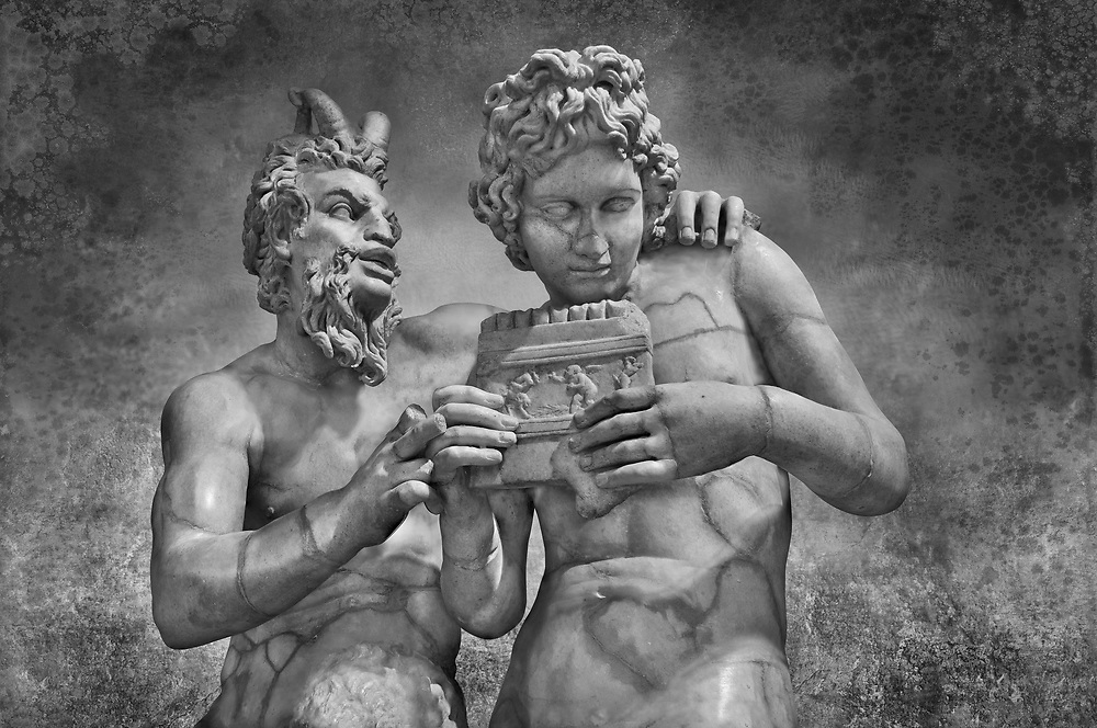 2nd century AD Roman marble sculpture of Pan teaching Daphnis to play the pipes, a Roman copy late 2nd century BC Hellenistic Geek original attributed to Rodes sculptor Heliodoros. Pan's and Daphnis' heads and Daphnis' right arm are restorations.  The Farnese collection, Naples Museum of Archaeology, Italy<br /> . Black and White Wall art print by Photographer Paul E Williams