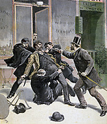 Arrest of Francois Koenigstein (1859-1892) French Anarchist known as Ravachol, 30 March 1892. Guillotined 11 July 1892. From 'Le Petit Journal', Paris, 16 April 1892. France, Criminal, Murderer, Bomber, Terrorist