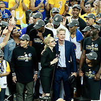 12 June 2017: Golden State Warriors head coach Steve Kerr is seen next to Doris Burke during the Golden State Warriors 129-120 victory over the Cleveland Cavaliers, in game 5 of the 2017 NBA Finals, at the Oracle Arena, Oakland, California, USA.