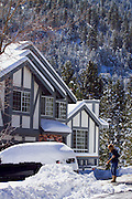 Shoveling snow in Wrightwood, California.