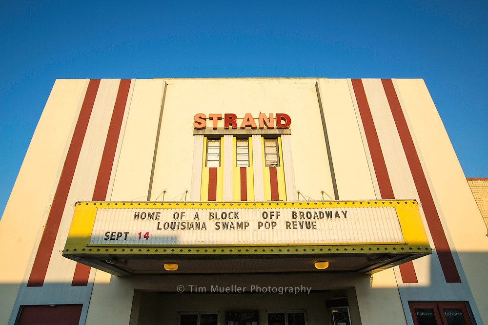 The Strand Theatre in downtown Jennings, La.  The theatre and downtown area is several blocks away from Louisiana Highway 26 and the Flyway Byway route in Jefferson Davis Parish.