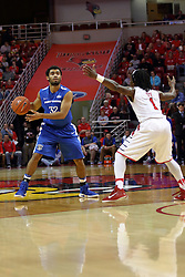 14 November 2016:  Kason Harrell(32) held outside the 3 point line by Paris Lee(1) during an NCAA  mens basketball game between the Indiana Purdue Fort Wayne Mastodons the Illinois State Redbirds in Redbird Arena, Normal IL