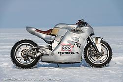 Russian custom bike builder Yaroslav Tatarinov's 2008 Kawasaki 1350 GTR 1350cc with incredible hand crafted aluminum body work at the Baikal Mile Ice Speed Festival. Maksimiha, Siberia, Russia. Saturday, February 29, 2020. Photography ©2020 Michael Lichter.