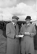 24/09/1963<br /> 09/24/1963<br /> 24 September 1963<br /> Goffs September Bloodstock Sales at the RDS, Dublin. Chatting at the sales were: Mr J. Keane, Chairman of the Racing Board and Mr Justice Lavery, High Court Judge.
