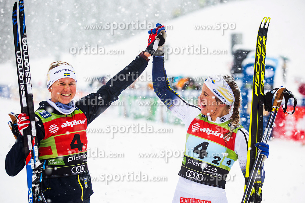 Maja Dahlqvist (SWE) and Linn Svahn (SWE) celebrating 1st place after Ladies team sprint race at FIS Cross Country World Cup Planica 2019, on December 22, 2019 at Planica, Slovenia. Photo By Peter Podobnik / Sportida