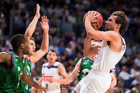 Real Madrid's player Sergio Llull and Unicaja Malaga's player Oliver Lafayette during match of Liga Endesa at Barclaycard Center in Madrid. September 30, Spain. 2016. (ALTERPHOTOS/BorjaB.Hojas)