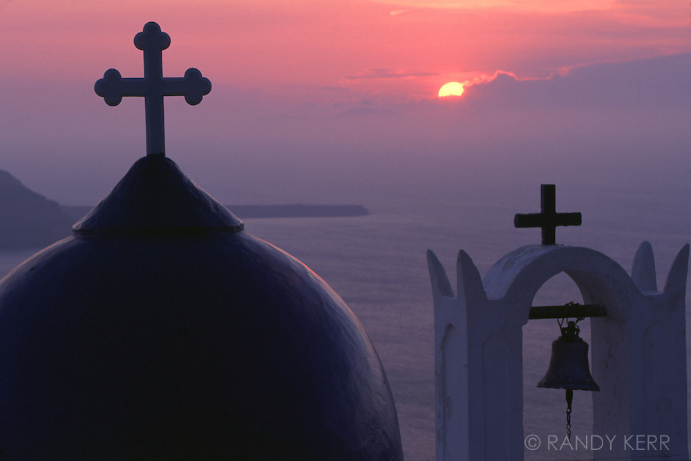 Crosses on Greek Church in Santorini