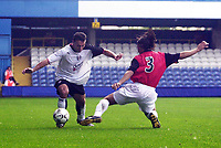 Photo. Glyn Thomas<br />Pre-Season Friendly.<br />Fulham v RCD Mallorca<br />Loftus Road, 10/08/2003<br />Fulham's Steed Malbranque, (L), who scored his side's second goal, avoids a challenge from Cristian Diaz.