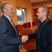 Inter Milan Ex Dutch midfielder, Turkish soccer club Galatasaray new player Wesley Sneijder, his arrival at the Florya Metin Oktay Sports Center in Istanbul Turkey on Monday 21 January 2013. Galatasaray's vice president Ali Durust with Wesley Sneijder. Galatasaray, Inter Milan Dutch midfielder played with a three and a half year deal gave Wesley Sneijder. Photo by TURKPIX