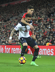 Philippe Coutinho of Liverpool (Top) and Kyle Walker of Tottenham Hotspur in action - Mandatory by-line: Jack Phillips/JMP - 11/02/2017 - FOOTBALL - Anfield - Liverpool, England - Liverpool v Tottenham Hotspur - Premier League