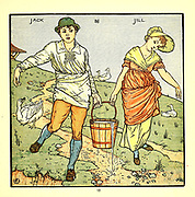 Jack and Gill or [later Jack and Jill] / Went up the hill / To fetch a pail of water / Jack fell down and broke his crown / And Gill [Jill] came tumbling after. // Up Jack got / And home did trot, / As fast as he could caper; / Went to bed / To mend his head / With vinegar and brown paper. // Jill came in / And she did grin /To see his paper plaster; / Mother, vex'd, / Did whip her next / For causing Jack's disaster. From the Book '  The baby's opera : a book of old rhymes, with new dresses by Walter Crane, and Edmund Evans Publishes in London and New York by F. Warne and co. in 1900