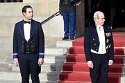 Koning Willem-Alexander en koningin Maxima  ontvangen het Corps Diplomatique voor diner op het Paleis op de Dam.<br /> <br /> King Willem-Alexander and Queen Maxima receive the Corps Diplomatique for dinner at the Palace on the Dam.
