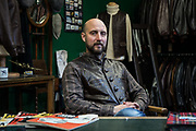 Editorial portrait of Aero Leathers owner at his factory in Galashiels