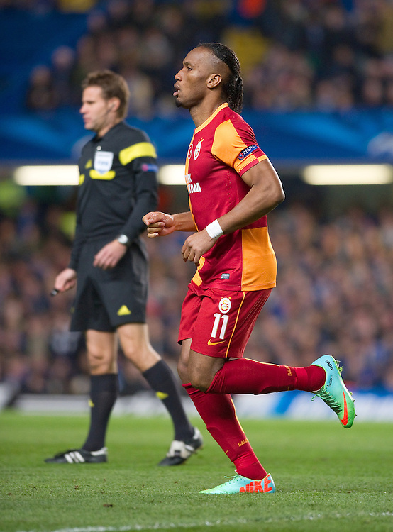 Galatasaray's Didier Drogba in action during the match against Chelsea <br /> <br /> Photo by Ashley Western/CameraSport<br /> <br /> Football - UEFA Champions League First Knockout Round 2nd Leg - Chelsea v Galatasaray - Tuesday 18th March 2014 - Stamford Bridge - London<br />  <br /> © CameraSport - 43 Linden Ave. Countesthorpe. Leicester. England. LE8 5PG - Tel: +44 (0) 116 277 4147 - admin@camerasport.com - www.camerasport.com