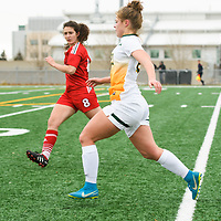 1st year Kyra Vibert (23) of the Regina Cougars in action during the Women's Soccer home game on October 21 at U of R Field. Credit: Arthur Ward/Arthur Images