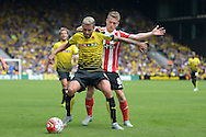 Valon Behrami of Watford holds the ball from Steven Davis of Southampton.Barclays Premier League, Watford v Southampton at Vicarage Road in London on Sunday 23rd August 2015.<br /> pic by John Patrick Fletcher, Andrew Orchard sports photography.