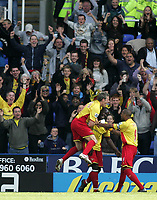 Photo: Lee Earle.<br /> Reading v Watford. The Barclays Premiership. 05/05/2007.Watford's Danny Shittu is congratulated after scoring the opening goal.