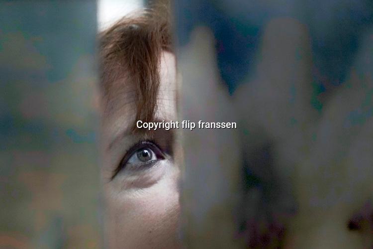 Nederland, Den Bosh, 30-12-2019 Een vrouw kijkt naar een kunstwerk, schilderij, in het museum, brabants . Alleen haar ogen zijn te zien. Foto: Flip Franssen
