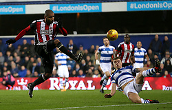 Sheffield United's Leon Clarke has a shot at goal during the game during the Sky Bet Championship match at Loftus Road, London.
