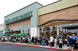 Oct. 13, 2010 - California, USA - Customers wait in line for the opening of the new Whole Foods Market at 7881 Edinger Avenue in Huntington Beach.  This is the company's 300th store.  The company started in 1980 in Austin, Texas and now has locations across the U.S. and U.K.(Credit Image: © The Orange County Register/ZUMApress.com)
