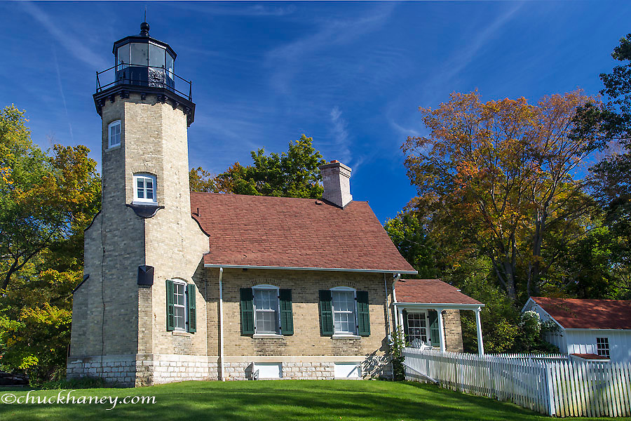 The White River Lighthouse on Lake Michigan in Whitehall, Michigan, USA
