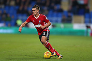 Jonas Knudsen of Ipswich Town in action. EFL Skybet championship match, Cardiff city v Ipswich Town at the Cardiff city stadium in Cardiff, South Wales on Tuesday 31st October 2017.<br /> pic by Andrew Orchard, Andrew Orchard sports photography.