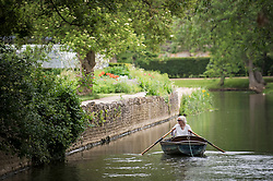 © Licensed to London News Pictures. 04/06/2021. Oxford, UK. A woman is seen rowing a boat on the River Cherwell past Oxford Botanic Gardens, in central Oxford, England, on a wet and overcast day. The UK is experiencing damp and overcast conditions following a week of annual high temperatures. Photo credit: Ben Cawthra/LNP