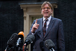 © Licensed to London News Pictures. 06/03/2018. London, UK. European Parliament Brexit co-ordinator Guy Verhofstadt speaks to the press after meetings on Downing Street. Photo credit: Rob Pinney/LNP
