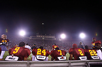 22 August 2007: Overview,  Offensive line under the stadium lights during USC Trojans NCAA Pac-10 college football team fall intrasquad scrimmage at the LA Memorial Coliseum on Wednesday night infront of 18,000 fans who attended for free.