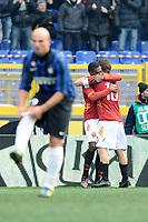 Esultanza dopo il gol di Juan (Roma) con Francesco Totti<br /> Roma, 05/02/2012 Stadio Olimpico<br /> Football Calcio 2011/2012 <br /> Roma vs Inter<br /> Campionato di calcio Serie A<br /> Foto Insidefoto Antonietta Baldassarre