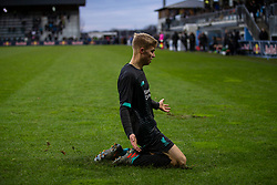 GRÖDIG, AUSTRIA - Tuesday, December 10, 2019: Liverpool's substitute Jack Bearne celebrates after scoring the winning third goal, with the last kick of the game, during the final UEFA Youth League Group E match between FC Salzburg and Liverpool FC at the Untersberg-Arena. Liverpool's won 3-2. (Pic by David Rawcliffe/Propaganda)