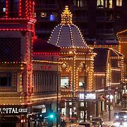 Plaza Lights at dusk and traffic, Kansas City, Missouri, 2020.