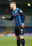GOAL 1-0 Stephen Humphrys of Rochdale (9) celebrates during the EFL Sky Bet League 1 match between Rochdale and Wigan Athletic at the Crown Oil Arena, Rochdale, England on 16 January 2021.