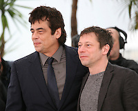 Actors Benicio Del Toro and Mathieu Amalric at the Jimmy P. Psychotherapy of a Plains Indian film photocall at the Cannes Film Festival 18th May 2013