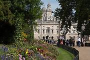Blossomingflowerbeds at St James's Park with Horse Guards Parade in the distance on the 29th August 2019 in London in the United Kingdom.