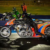 Les Holden (767 - HRP Nitro Bike) lined up beside Greg Durack (1532 - Kawasaki ZX-12R) - Top Fuel Motorcycle.