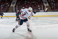 KELOWNA, CANADA - SEPTEMBER 5: Tylor Ludwar #3 of the Kamloops Blazers takes a slap shot from centre ice against the Kelowna Rockets on September 5, 2017 at Prospera Place in Kelowna, British Columbia, Canada.  (Photo by Marissa Baecker/Shoot the Breeze)  *** Local Caption ***