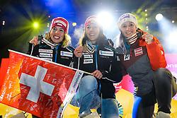 10.02.2017, St. Moritz, SUI, FIS Weltmeisterschaften Ski Alpin, St. Moritz 2017, alpine Kombination, Damen, Siegerehrung, im Bild v.l. Michelle Gisin (SUI, Silbermedaille Alpine Kombination der Damen), Wendy Holdener (SUI, Weltmeister und Goldmedaille Alpine Kombination der Damen), Michaela Kirchgasser (AUT, Bronzemedaille Alpine Kombination der Damen) // f.l. ladie's Alpin Combined Silver medalist Michelle Gisin of Switzerland ladie's Alpin Combined Goldmedalist and World Champion Wendy Holdener of Switzerland ladie's Alpin Combined bronze medalist Michaela Kirchgasser of Austria during the winnerceremony for the ladie's Alpine combination of the FIS Ski World Championships 2017. St. Moritz, Switzerland on 2017/02/10. EXPA Pictures © 2017, PhotoCredit: EXPA/ Johann Groder