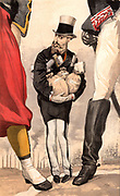 Leopold II of Belgium (1835-1909). Reigned from 1865. 'Un roi constituionnel' cartoon by 'Coide' (JJ Tissot - 1836-1902) for 'Vanity Fair' (London, 9 September 1869).  This shows Leopold clasping the wealth of industrious Belgium while keeping a wary eye on the jackboot of Germany and  the foot of France, Belgium's  threatening neighbours. Chromolithograph.