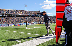 Nov 10, 2018; Morgantown, WV, USA; West Virginia Mountaineers head coach Dana Holgorsen yells from the sidelines during the first quarter against the TCU Horned Frogs at Mountaineer Field at Milan Puskar Stadium. Mandatory Credit: Ben Queen-USA TODAY Sports