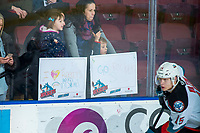 KELOWNA, BC - FEBRUARY 15: Young fans show their support for the Kelowna Rockets against the Red Deer Rebels at Prospera Place on February 15, 2020 in Kelowna, Canada. (Photo by Marissa Baecker/Shoot the Breeze)