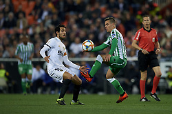 February 28, 2019 - Valencia, Valencia, Spain - Lo Celso of Betis and Daniel Parejo of Valencia battle for the ball during the Copa del Rey Semi Final match second leg between Valencia CF and Real Betis Balompie at Mestalla Stadium in Valencia, Spain on February 28, 2019. (Credit Image: © Jose Breton/NurPhoto via ZUMA Press)