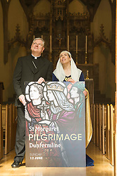 Pictured: <br /> Today Archbishop Leo Cushley was joined by 'St Margaret of Scotland' to unveil the publicity poster being sent to every Catholic parish in the country to advertise this summer's St Margaret's Pilgrimage, which will take place on 12 June in Dunfermline. Actress Katie Milne, dressed as St Margaret, joined the Archbishop in Edinburgh to launch the poster.<br /> <br /> Ger Harley | EEm 10 May April 2016