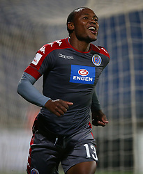 Thuso Phala with the 1st Goal for SuperSport United during the 2016 Premier Soccer League match between Maritzburg Utd and SuperSport United held at the Harry Gwala Stadium in Pietermaritzburg, South Africa on the 21st September 2016<br /> <br /> Photo by:   Steve Haag / Real Time Images