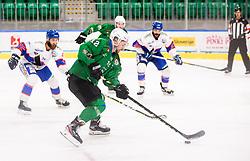 Simsic Nik of HK Olimpija during Ice hockey match between HK SZ Olimpija and SHC Fassa Falcons in Round #20 of Alps Hockey League 2020/21, on February 16, 2021 in Hala Tivoli, Ljubljana, Slovenia. Photo by Vid Ponikvar / Sportida