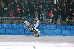 13.03.2016, Assen, BEL, FIM Eisspeedway Gladiators, Assen, im Bild Wheely von Franz Zorn (AUT) // during the Astana Expo FIM Ice Speedway Gladiators World Championship in Assen, Belgium on 2016/03/13. EXPA Pictures © 2016, PhotoCredit: EXPA/ Eibner-Pressefoto/ Stiefel<br /> <br /> *****ATTENTION - OUT of GER*****